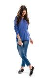 Женщина в голубой фуфайке Стоковое фото RF
