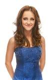 Женщина в голубом платье стоковое фото rf