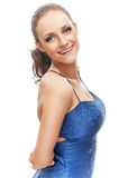 Женщина в голубом платье стоковое фото