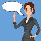 Женщина в деловом костюме с пузырем речи иллюстрация штока