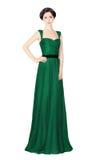 Женщина в зеленом платье вечера Стоковая Фотография
