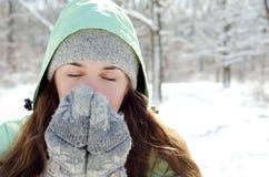Женщина в зиме стоковое фото rf