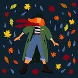 Женщина в иллюстрации лист осени пальто и шарфа для места открытки иллюстрация штока