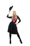 Женщина в длинном черном платье изолированном на белизне стоковые фото
