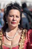 Женщина в историческом платье на масленице Венеции Стоковые Фото