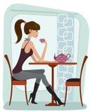 Женщина в кафе иллюстрация штока