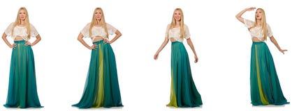 Женщина в концепции моды в зеленом платье на белизне Стоковые Фото
