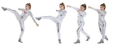 Женщина в костюме латекса с позицией боя Стоковое Фото