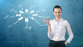 Женщина в костюме держа поднос около стены с эскизом идеи дела нарисованной на ем принципиальная схема дела успешная Стоковые Изображения