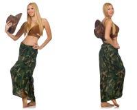Женщина в костюме заплывания изолированном на белизне Стоковые Изображения