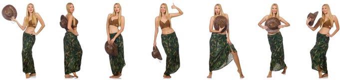 Женщина в костюме заплывания изолированном на белизне Стоковое Изображение RF