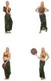Женщина в костюме заплывания изолированном на белизне Стоковые Фото