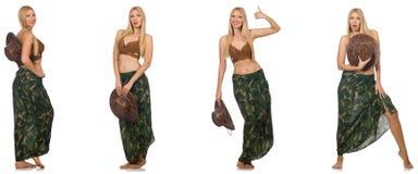 Женщина в костюме заплывания изолированном на белизне Стоковые Фотографии RF