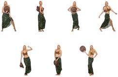 Женщина в костюме заплывания изолированном на белизне Стоковые Изображения RF