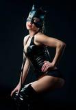 Женщина в костюме кота Стоковое Изображение