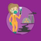Женщина в костюме радиации защитном с пробиркой Стоковые Фотографии RF