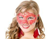 Женщина в красной маске стоковые изображения