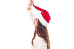 Женщина в красной шляпе рождества держа bubo Стоковое Изображение