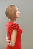 Женщина в красном платье Стоковое Фото