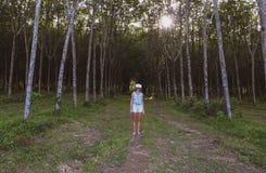 Женщина в лесе использует стекла виртуальной реальности VR стоковые фотографии rf