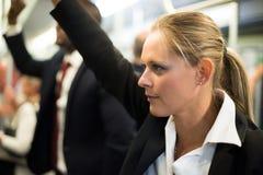 Женщина в метро Стоковая Фотография