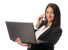 Женщина в наушниках Стоковая Фотография