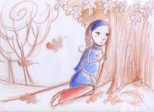 Женщина в осени Стоковое Изображение RF
