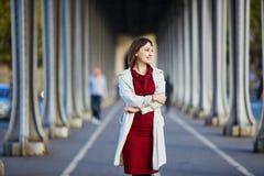 Женщина в Париже на яркий день падения Стоковые Изображения