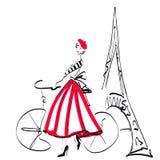 Женщина в Париже, эскизе, изолированном на белизне Стоковое Изображение