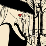 Женщина в Париж Стоковое фото RF