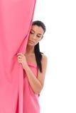 Женщина в пинке - рак молочной железы Awereness Стоковые Изображения