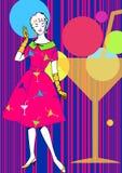 Женщина в платье коктеила иллюстрация штока