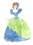 Женщина в платье шарика стоковая фотография rf