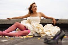Женщина в платье стоковые фотографии rf