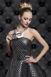 Женщина в портрете масленицы моды Стоковая Фотография