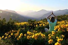 Женщина в представлении йоги среди солнцецветов в лугах Стоковое Фото