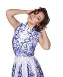 Женщина в платье с gzhel картины Стоковое Изображение