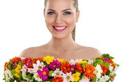 Женщина в платье цветка стоковые изображения
