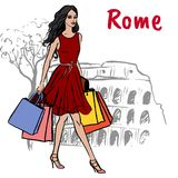 Женщина в Рим Стоковое Фото
