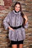 Женщина в роскошной фиолетовой меховой шыбе шиншиллы Стоковое фото RF