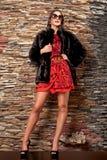 Женщина в роскошной черной меховой шыбе Стоковое Фото