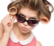 Женщина в роликах волос Стоковая Фотография RF