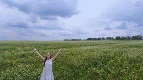 Женщина в руках к небу, единстве полей поднимая с молитвой природы к богу спросить помощь видеоматериал