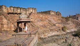 Женщина в сари идет вдоль старого индусского алтара около стены города кирпича индийского города Стоковые Изображения RF