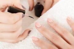 Женщина в салоне красоты получая маникюр сделанный Стоковые Фото
