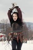 Женщина в средневековом костюме стоковые изображения