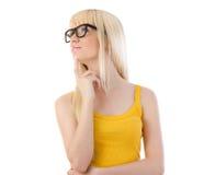 Женщина в стеклах daydreaming Стоковое Изображение