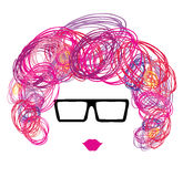 Женщина в стеклах с курчавыми волосами эскиза Стоковые Изображения RF