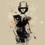 Женщина в стиле кабара Иллюстрация акварели, мода grunge Стоковые Фотографии RF