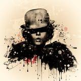 Женщина в стиле кабара Иллюстрация акварели, мода grunge Стоковое Изображение RF